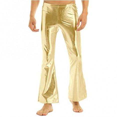 renvena Men's Shiny Metallic Fashion Holographic Pants Disco Flared Bell Bottom Leggings