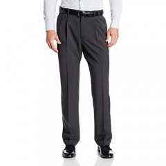 Van Heusen mens Big and Tall Stretch Traveler Cuffed Crosshatch Pleated Pant