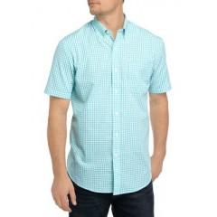 Easy Care Short Sleeve Poplin Plaid Woven Shirt