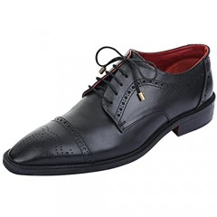 Lethato Handcrafted Mens Brogue Captoe Oxford/Derby Genuine Leather Lace up Shoes with Golden Color Metal Aglets Shoelace Tips