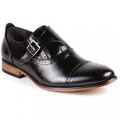 Metrocharm MC604 Men's Monk Strap Cap Toe Slip-on Dress Shoe