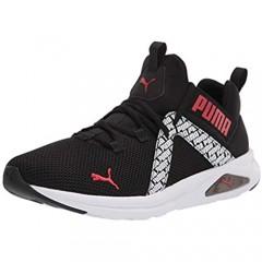 PUMA Men's Enzo 2 Running Shoe Black-High Risk Red White 13