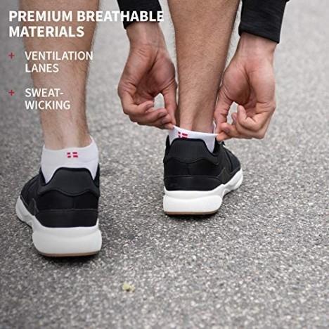 DANISH ENDURANCE Long Distance Low-Cut Running Socks 3-Pack for Men & Women Anti-Blister Padded Athletic Socks