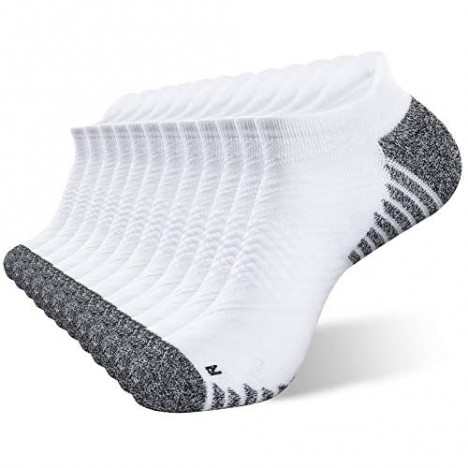 JEEDMNO Compression Running Socks Cushioned for Men and Women (2/6 pairs) Ankle Low Cut Athletic Sock with Arch Support