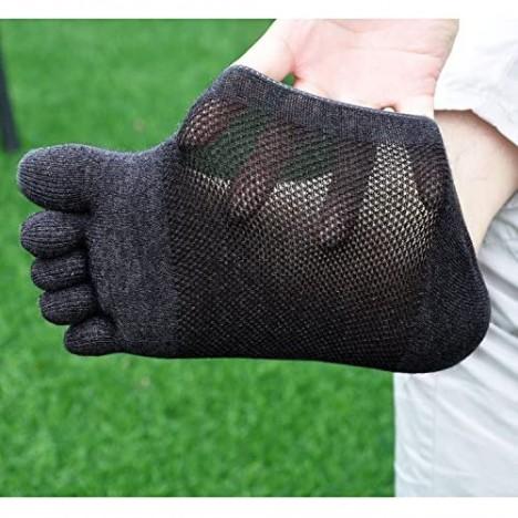 Mens Summer No Show Toe Socks Premium Cotton Five Finger Socks for Running Athletic