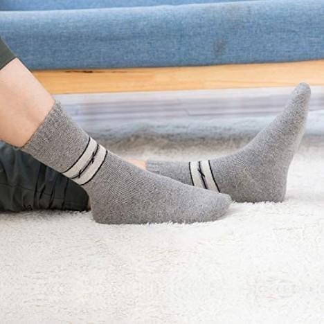 Mens Warm Wool Socks Thick Winter Hiking Stripe Wool Crew Socks (A-Mix 2 Stripes 5 Pairs)