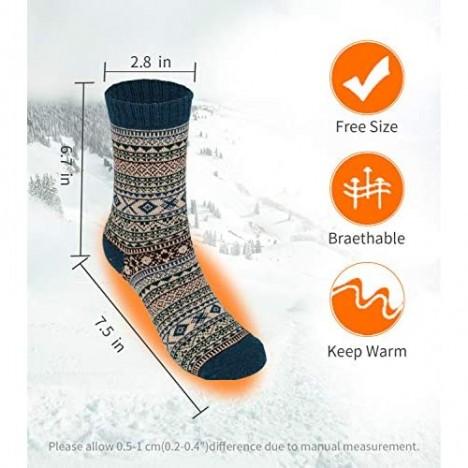 Mens Warm Wool Socks Thick Winter Thermal Stripe Wool Crew Socks