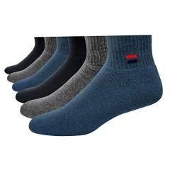 Navy Sport Men's Solid Cushion Comfort Quarter Socks Pack of 6