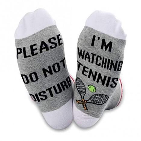 TSOTMO 2 Pairs Tennis Lover Gift Novelty Crew Socks Please Do Not Disturb I'm Watching Tennis Sock Novelty Socks for Women