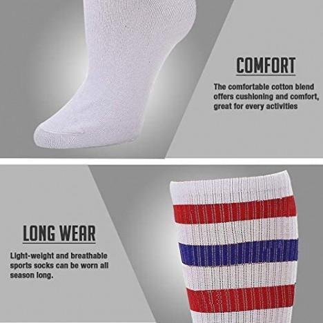 Yacht & Smith Mens & Womens Wholesale Bulk Cotton Tube Socks Referee Style by SOCKS'NBULK (12 Pairs Assorted Mens 10-13 (Shoe Size 7-12))