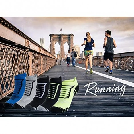 5 Pairs Men's Performance Athletic Breathable Ankle Socks Low Cut Comfort Cushioned Running Tab Socks