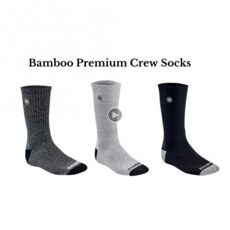 Bamboo Sports Premium Bamboo Crew Work Socks- Moisture Wicking Odor Eliminating