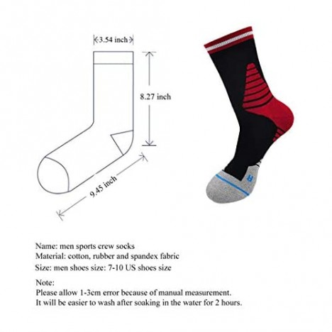Protective Basketball Socks for Men Dri-Fit Athletic Sports Sock Running Crew Compression Stocking (4 Pairs)