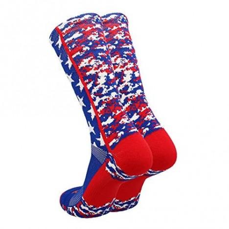 TCK Digi Camo USA American Flag Socks Crew Length Basketball Football Lacrosse Volleyball