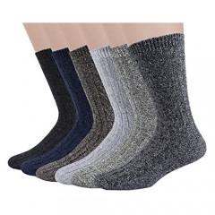 6 Pairs Mens Winter Socks Thermal Cozy Casual Warm Wool Socks for Men (2E)