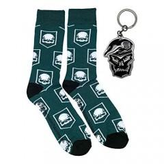 Call of Duty Green Crew Socks and Skull Metal Key Chain Gift Bundle