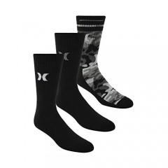 Hurley Men's 3 Pack Crew Socks 10-13 Black/Black/Camo