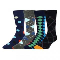 Men Space America Flag Animal Socks Funny Sports Argyle Business Groom Gift in 4 Pack