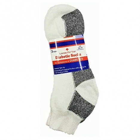 Men's 12 Pairs Diabetic Ankle Socks White Loose Cotton Non-Binding Top 12 Pack Sock Size 10-13 Shoe size 7-11