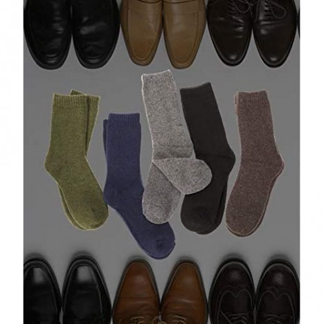 Mens Wool Socks 5 Pairs Boot Work Warm Winter Thick Long Comfy Thermal Crew Heavy Socks for Cold Weather