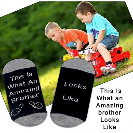 PXTIDY Funny Brother Socks This Is What An Amazing Brother Looks Like Socks Gift for Brother Awesome Brother Gifts