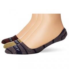 Sperry Top-sider Men's Stripe Liner 3-Pair Socks Brick Marl Assorted M/L