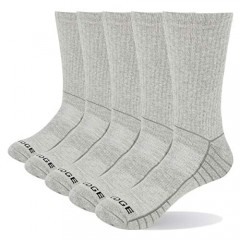 YUEDGE 5 Pairs Men's Casual Cotton Crew Socks Breathable Moisture Wicking Work Sock Sneaker Hiking Cushioned High Socks L-XXL