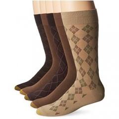 Gold Toe Men's Diagonal Plaid Crew Socks 5 Pairs