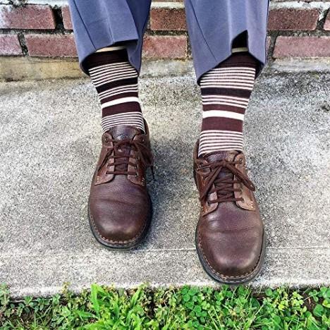 YEJIMONG Men's Cotton Fun Colorful Striped Casual Dress Socks Funky Designed Fancy Socks - 8/12 Pairs Size 9-12