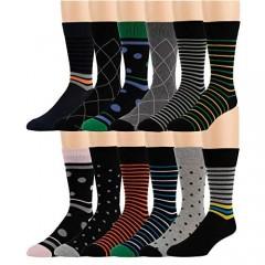 ZEKE Men's Cotton Dress Socks - 12 Pack Funky Colorful Crew Socks - Fashion Patterned Fun Striped Argyle