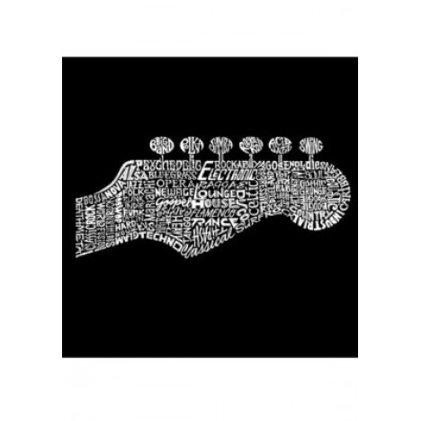 Word Art Long Sleeve Graphic T-Shirt - Guitar Head