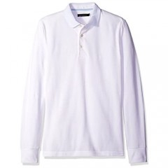 French Connection Men's Long Sleeve Solid Color Slim Fit Polo Shirt