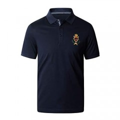 Mens Polo Shirts Regular Fit 100% Mercerized Cotton Ultra Dry Performance Polo T-Shirts with Embroidered Pattern Navy Blue