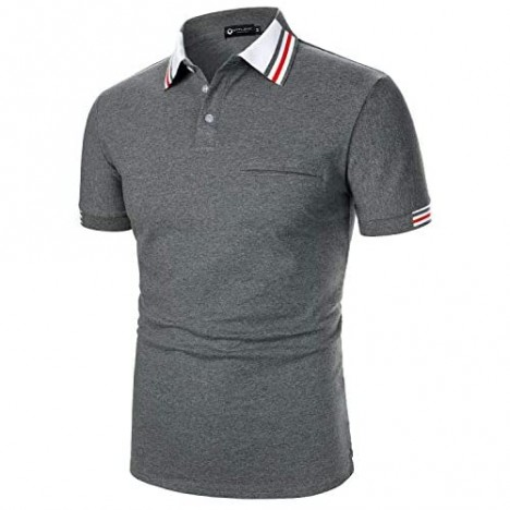 STTLZMC Men's Cotton Short Sleeve Polo Shirts Tri-Color Collar Solid Color Tee