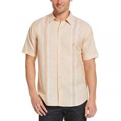Cubavera Men's Linen-Blend Yarn-Dyed Striped Panel Short Sleeve Button-Down Shirt