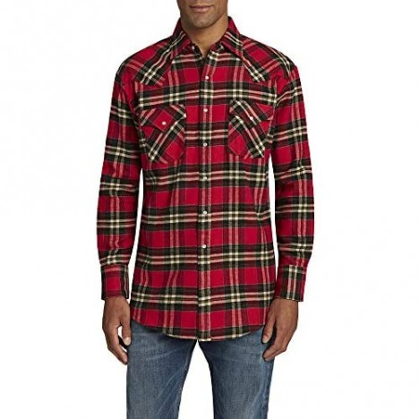 ELY CATTLEMAN Men's Long Sleeve Western Brawny Flannel Shirt Red Plaid X-Large