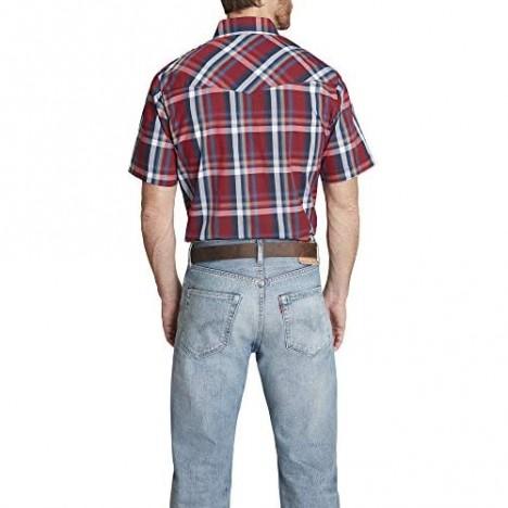 ELY CATTLEMAN Men's Tall Size Short Sleeve Classic Western Plaid Shirt