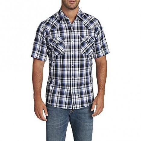 ELY CATTLEMAN Men's Tall Size Short Sleeve Shirt Blue Plaid XLT
