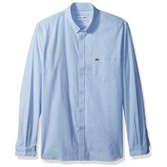Lacoste Men's Long Sleeve Button Down with Pocket Oxford Solid Regular Fit