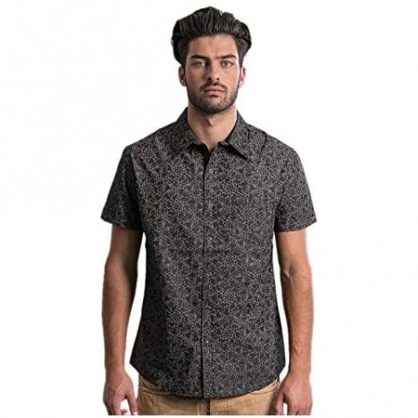 Mens Casual Short Sleeve Shirt with Allover LSD Molecule Print w/Secret Pocket