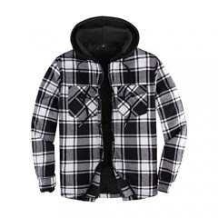 Mens Sherpa Lined Flannel Shirt Jacket with Hood Plaid Shirt-Jac all Sherpa Lining