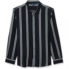 Perry Ellis Men's Slim Fit Wide Vertical Stripe Long Sleeve Button-Down Shirt