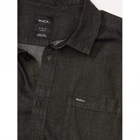 RVCA Men's Hastings Denim Long Sleeve Woven Button Front Shirt