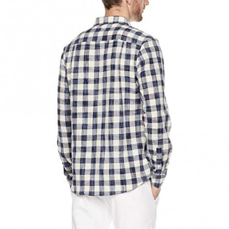 Trimthread Men's Simple Stylish Classic Fit Plaid Long Sleeve Button Up Casual Shirt
