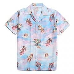ZAFUL Men' s Regular-fit Casual Short Sleeves Button Up Shirt Paradise Floral Angel Print Tropical Hawaiian Beach Shirt