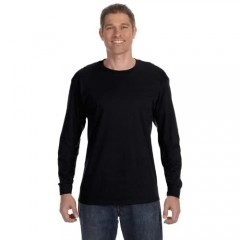 Hanes TAGLESS 6.1 Long Sleeve T-Shirt (Black XXL)