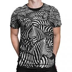 Liquid Blue White Zebra All Over Print Short Sleeve T-Shirt