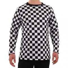 Men's RAD 80's Checkered Long Sleeve Shirt Black and White