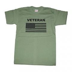 Military Veteran Tshirt with U.S. Flag. OD Green or Dark Ash. Made in USA