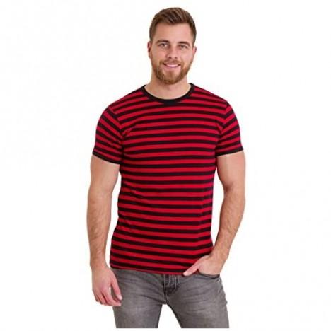 Run & Fly Mens 60's Retro Black & Red Striped Short Sleeve T Shirt